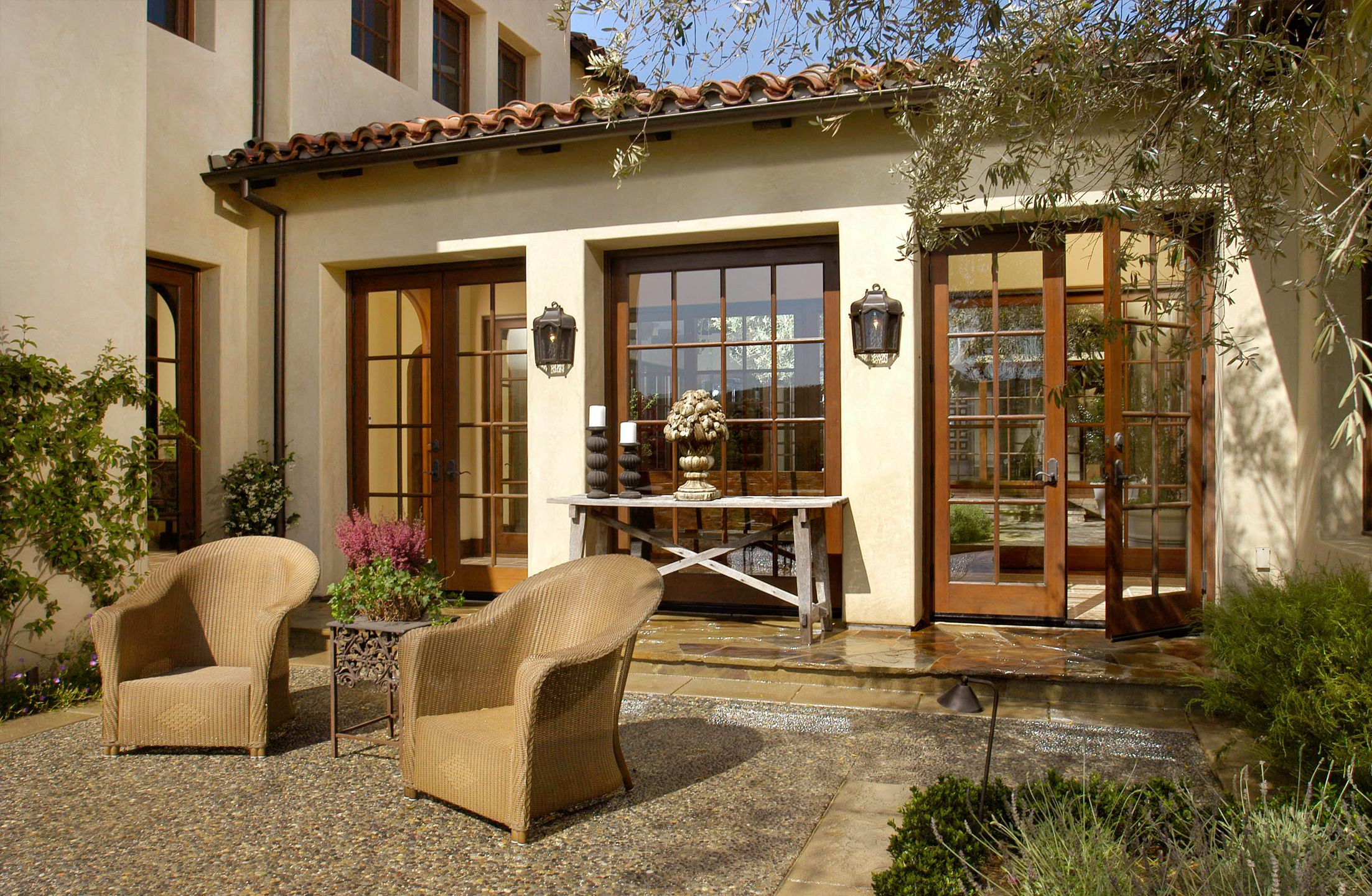 mission revival with french doors